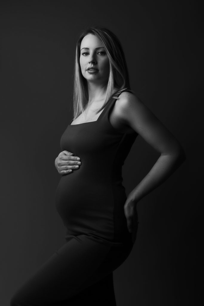 Black and white maternity photographer in Poole and Bournemouth