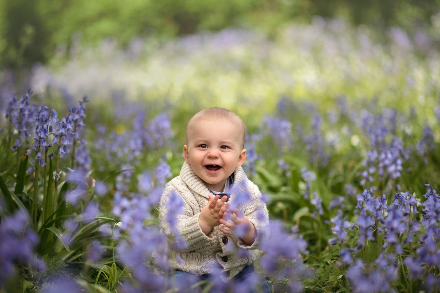Outdoor baby photography in bluebells, Dorset
