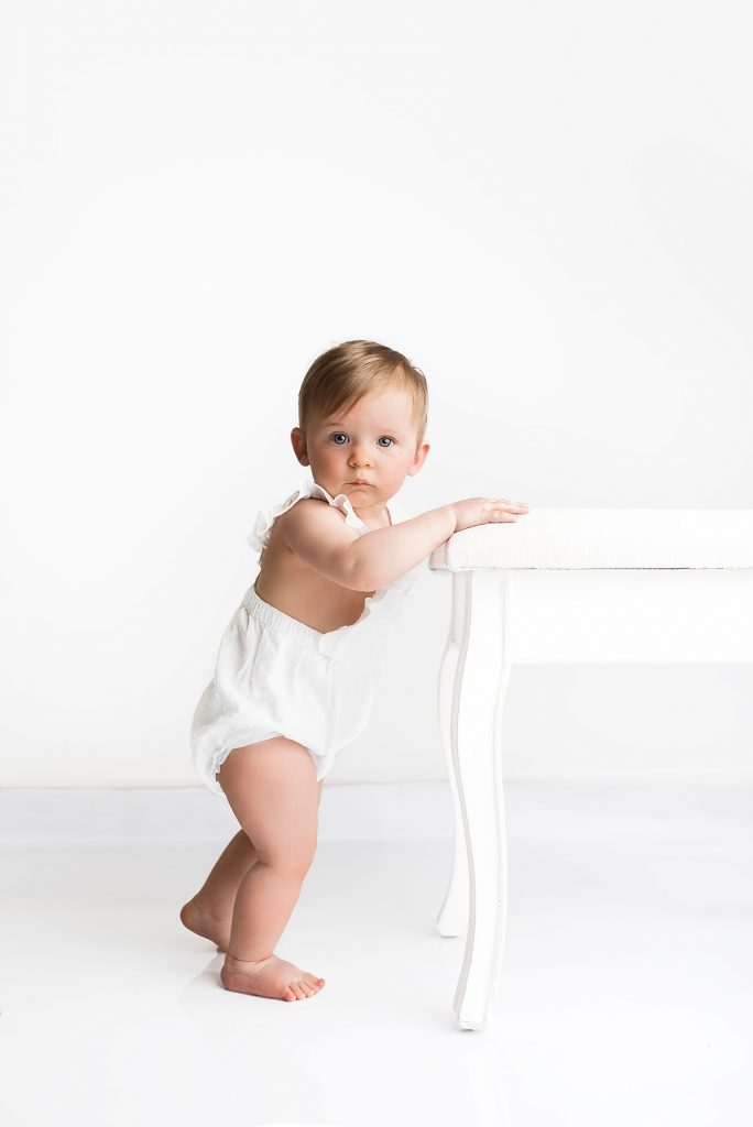 Bournemouth Baby Milestone Photography. Sitter photography session. All-white studio photography. Minimalistic baby photography
